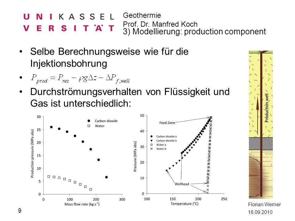 Geothermie Prof. Dr. Manfred Koch Florian Werner 16.09.2010 Selbe Berechnungsweise wie für die Injektionsbohrung Durchströmungsverhalten von Flüssigke