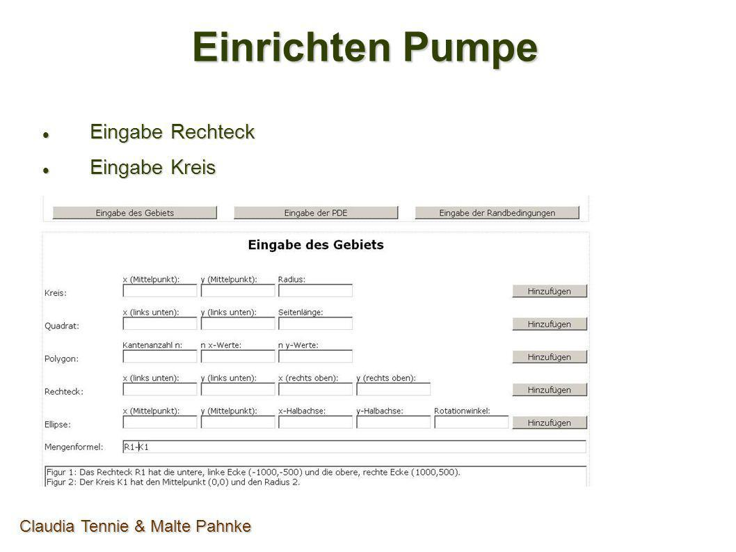 Einrichten Pumpe Eingabe Rechteck Eingabe Rechteck Eingabe Kreis Eingabe Kreis Claudia Tennie & Malte Pahnke