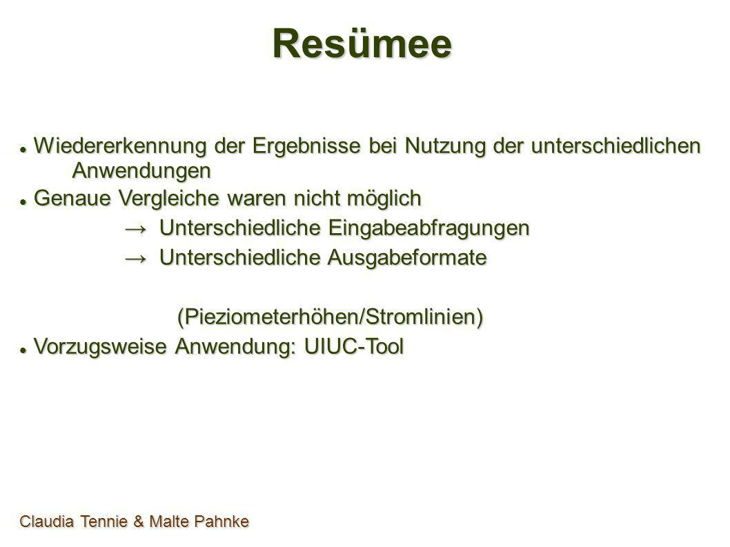 Resümee Wiedererkennung der Ergebnisse bei Nutzung der unterschiedlichen Anwendungen Wiedererkennung der Ergebnisse bei Nutzung der unterschiedlichen
