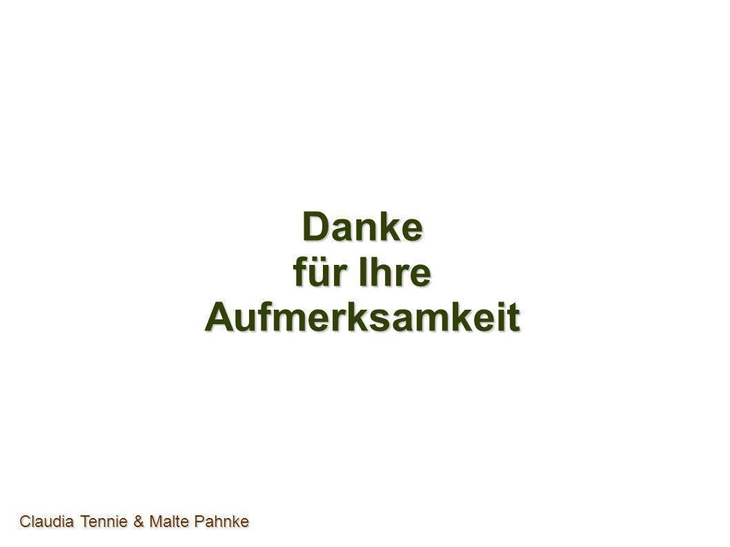 Danke für Ihre Aufmerksamkeit Claudia Tennie & Malte Pahnke