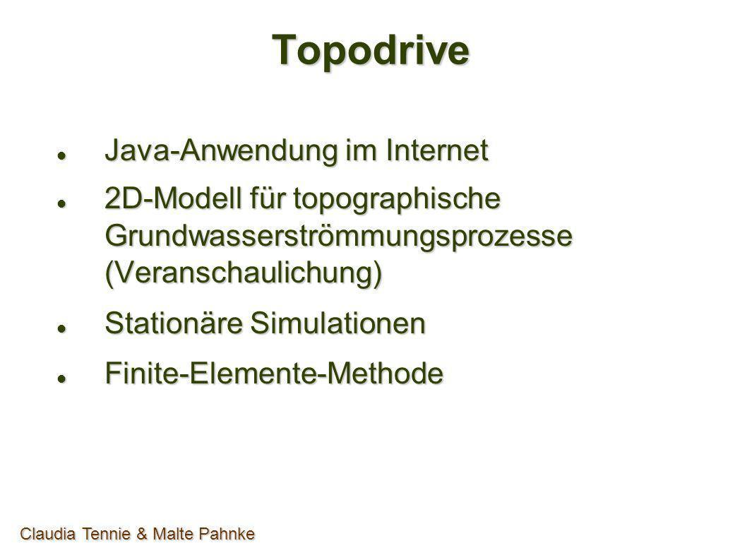 PDE-Tool einrichten RANDWERTPROBLEM Eingabe Systemgrenzen - Neumann - Neumann Eingabe Topographie - Dirichlet - Dirichlet - Undulation - Undulation h(x) = a*x + b sin (2*Pi/Lamda*x) h(x) = a*x + b sin (2*Pi/Lamda*x) Claudia Tennie & Malte Pahnke
