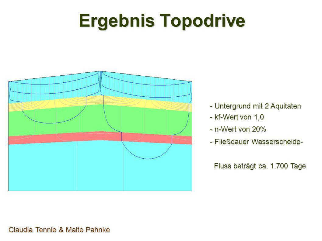 Ergebnis Topodrive Claudia Tennie & Malte Pahnke - Homogener Untergrund - kf-Wert von 1,0E-4 - n-Wert von 20% - Fließdauer Wasserscheide- Fluss beträgt Fluss beträgt Kurzwellig: ca.
