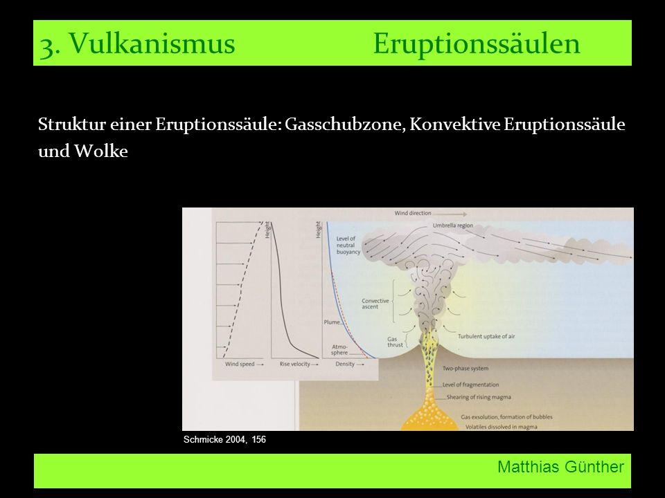 Matthias Günther 3. Vulkanismus Eruptionssäulen Struktur einer Eruptionssäule: Gasschubzone, Konvektive Eruptionssäule und Wolke Schmicke 2004, 156