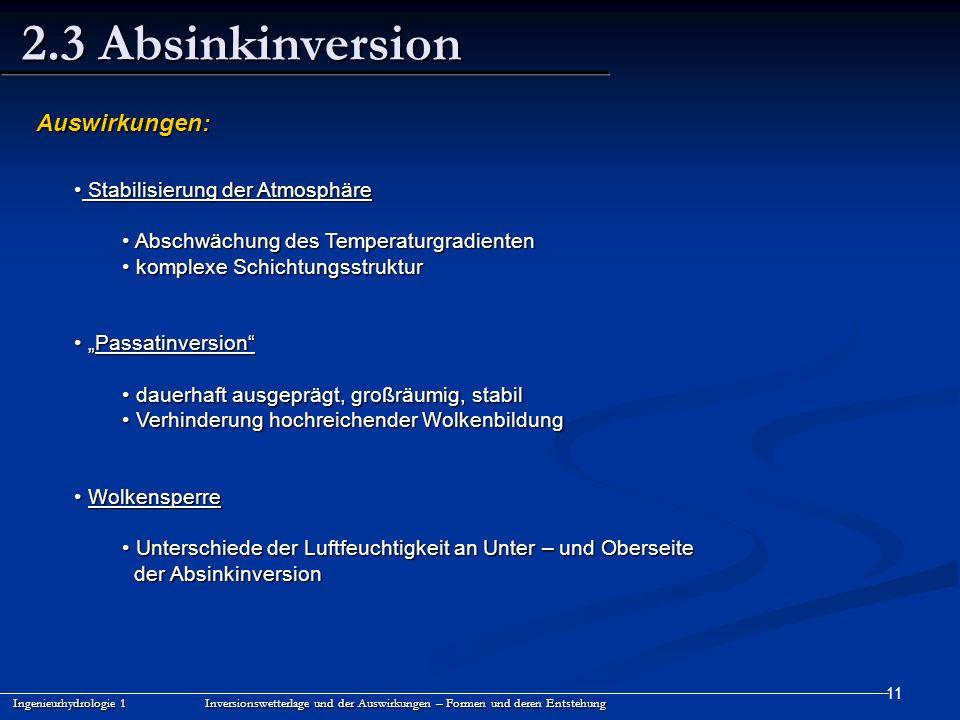 11 2.3 Absinkinversion Ingenieurhydrologie 1 Inversionswetterlage und der Auswirkungen – Formen und deren Entstehung Auswirkungen: Stabilisierung der