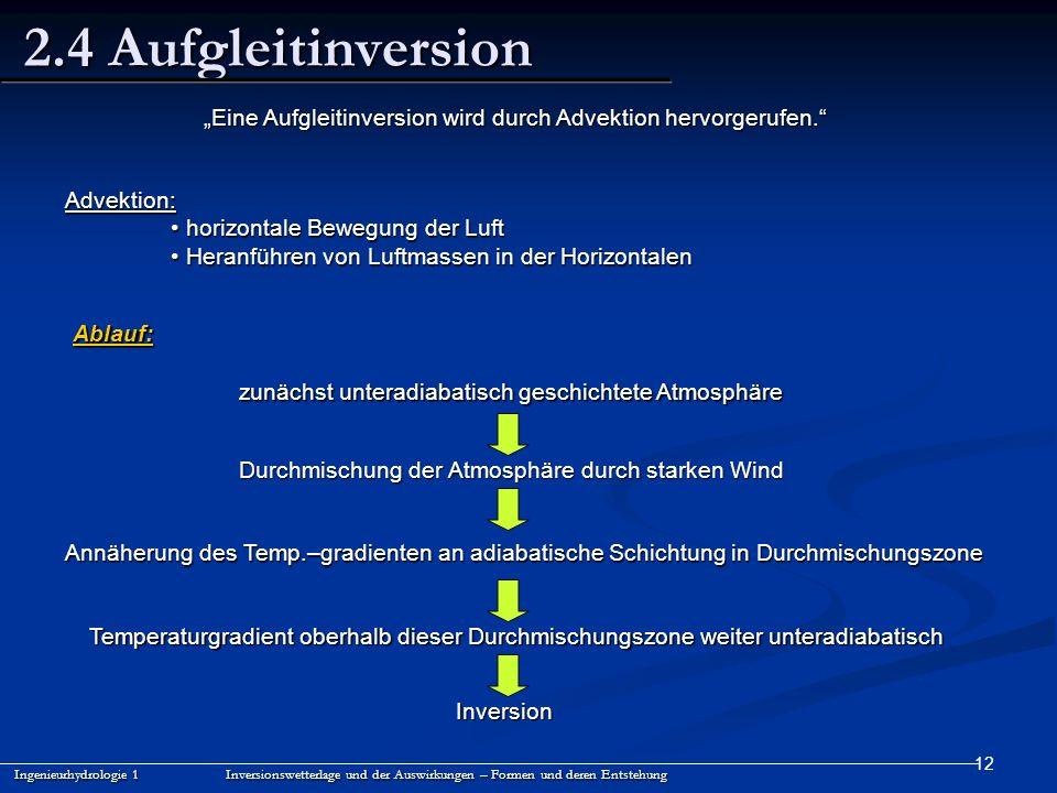 12 2.4 Aufgleitinversion Ingenieurhydrologie 1 Inversionswetterlage und der Auswirkungen – Formen und deren Entstehung Advektion: horizontale Bewegung