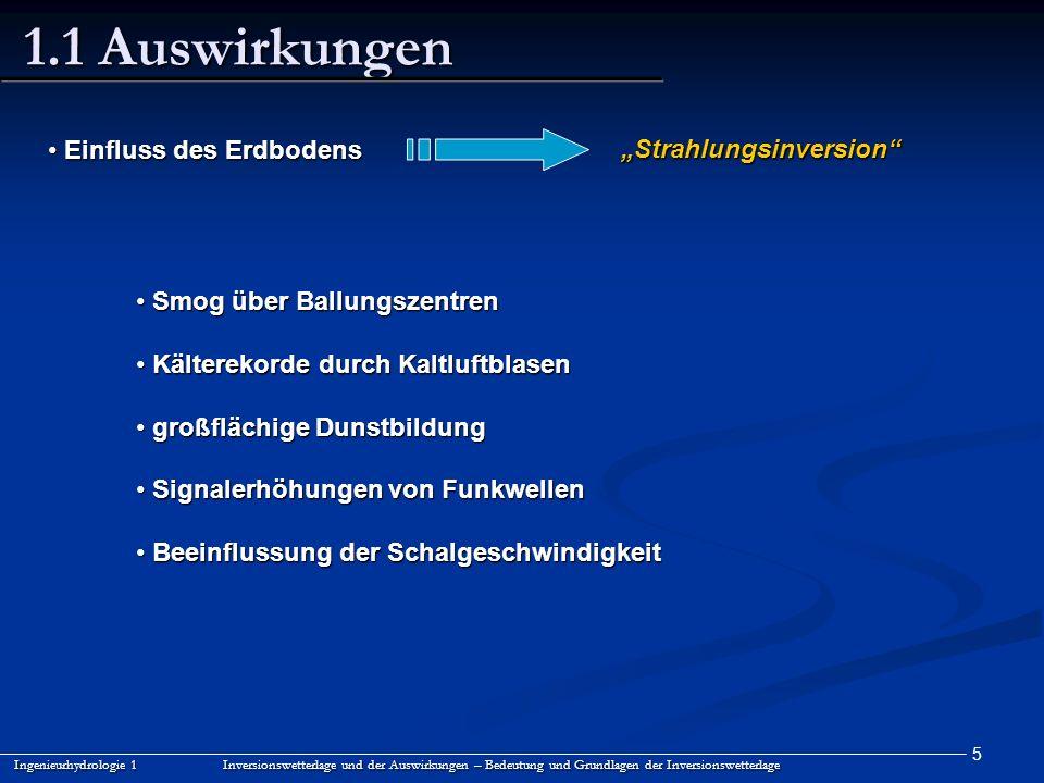 5 1.1 Auswirkungen Ingenieurhydrologie 1 Inversionswetterlage und der Auswirkungen – Bedeutung und Grundlagen der Inversionswetterlage Einfluss des Er