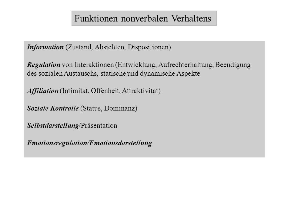 Funktionen nonverbalen Verhaltens Information (Zustand, Absichten, Dispositionen) Regulation von Interaktionen (Entwicklung, Aufrechterhaltung, Beendi