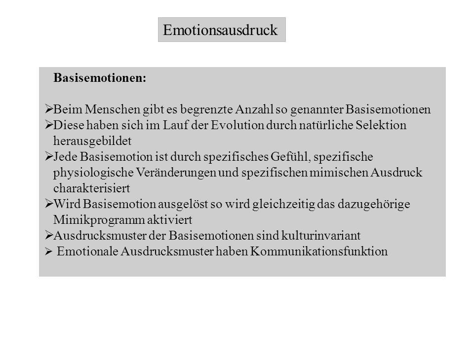 Emotionsausdruck Basisemotionen: Beim Menschen gibt es begrenzte Anzahl so genannter Basisemotionen Diese haben sich im Lauf der Evolution durch natür