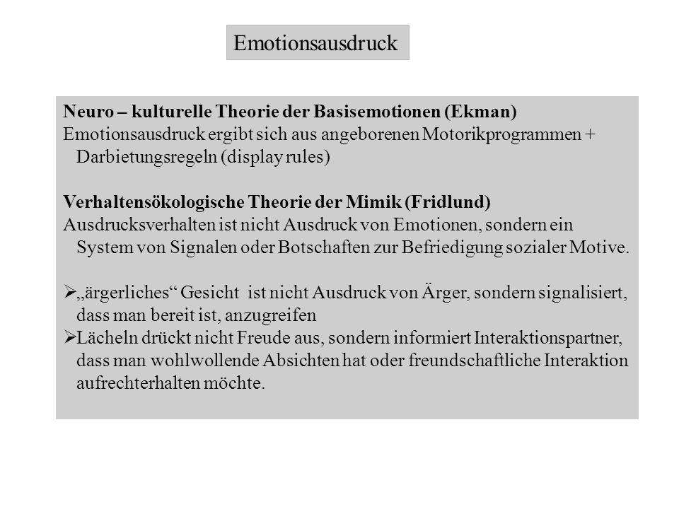 Emotionsausdruck Neuro – kulturelle Theorie der Basisemotionen (Ekman) Emotionsausdruck ergibt sich aus angeborenen Motorikprogrammen + Darbietungsreg