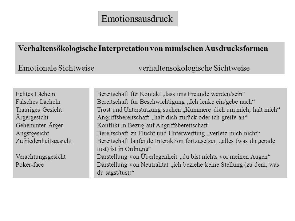 Emotionsausdruck Verhaltensökologische Interpretation von mimischen Ausdrucksformen Emotionale Sichtweise verhaltensökologische Sichtweise Echtes Läch