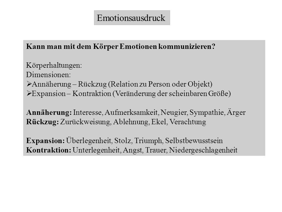 Emotionsausdruck Kann man mit dem Körper Emotionen kommunizieren? Körperhaltungen: Dimensionen: Annäherung – Rückzug (Relation zu Person oder Objekt)