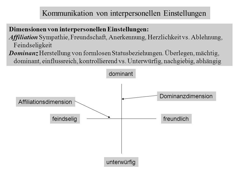 Kommunikation von interpersonellen Einstellungen Dimensionen von interpersonellen Einstellungen: Affiliation Sympathie, Freundschaft, Anerkennung, Her