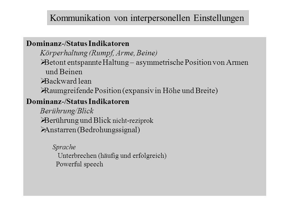 Kommunikation von interpersonellen Einstellungen Dominanz-/Status Indikatoren Körperhaltung (Rumpf, Arme, Beine) Betont entspannte Haltung – asymmetri