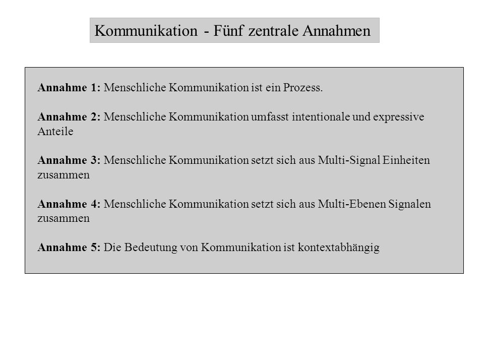 Kommunikation - Fünf zentrale Annahmen Annahme 1: Menschliche Kommunikation ist ein Prozess. Annahme 2: Menschliche Kommunikation umfasst intentionale