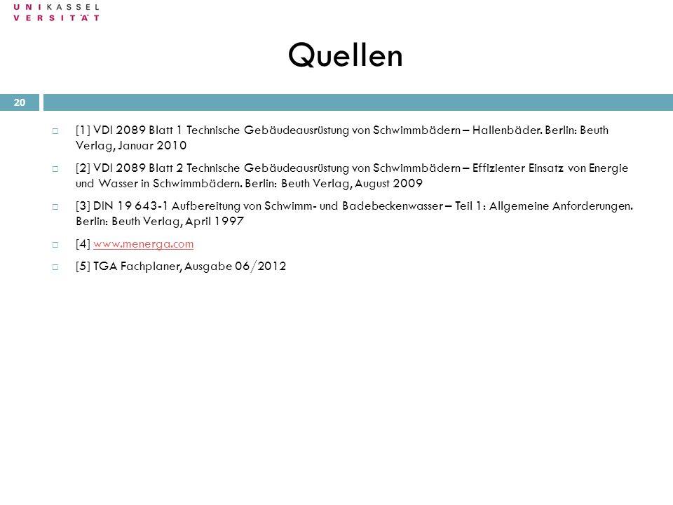 Quellen 28.09.2010 20 [1] VDI 2089 Blatt 1 Technische Gebäudeausrüstung von Schwimmbädern – Hallenbäder. Berlin: Beuth Verlag, Januar 2010 [2] VDI 208