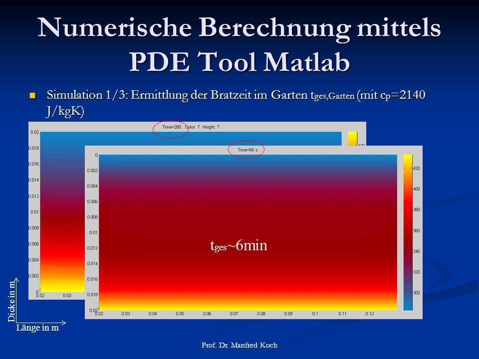 Numerische Berechnung mittels PDE Tool Matlab Simulation 1/3: Ermittlung der Bratzeit im Garten t ges,Garten (mit c p =2140 J/kgK) Simulation 1/3: Ermittlung der Bratzeit im Garten t ges,Garten (mit c p =2140 J/kgK) Prof.
