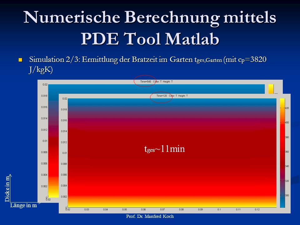 Numerische Berechnung mittels PDE Tool Matlab Simulation 2/3: Ermittlung der Bratzeit im Garten t ges,Garten (mit c p =3820 J/kgK) Simulation 2/3: Ermittlung der Bratzeit im Garten t ges,Garten (mit c p =3820 J/kgK) Prof.
