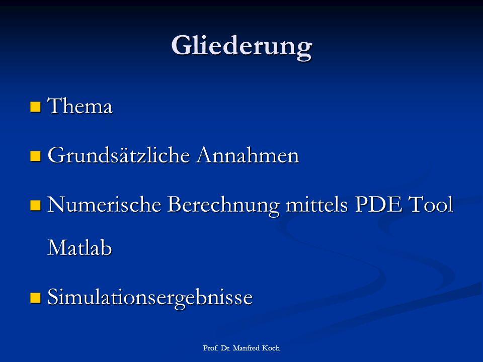 Gliederung Thema Thema Grundsätzliche Annahmen Grundsätzliche Annahmen Numerische Berechnung mittels PDE Tool Matlab Numerische Berechnung mittels PDE Tool Matlab Simulationsergebnisse Simulationsergebnisse Prof.