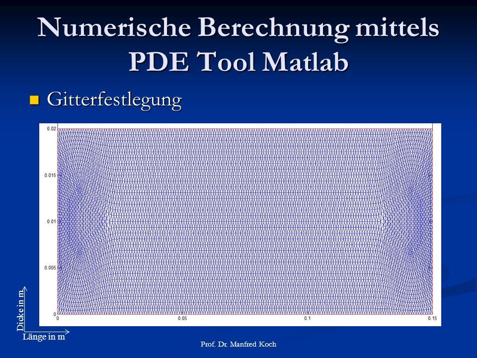 Numerische Berechnung mittels PDE Tool Matlab Gitterfestlegung Gitterfestlegung Prof.