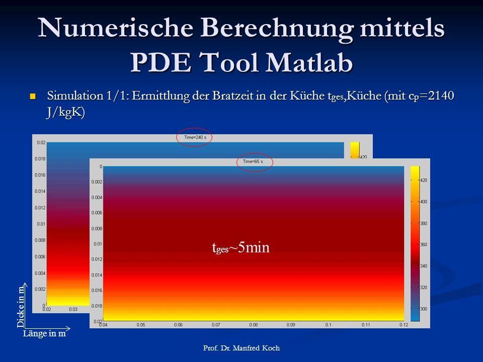 Numerische Berechnung mittels PDE Tool Matlab Simulation 1/1: Ermittlung der Bratzeit in der Küche t ges,Küche (mit c p =2140 J/kgK) Simulation 1/1: Ermittlung der Bratzeit in der Küche t ges,Küche (mit c p =2140 J/kgK) Prof.