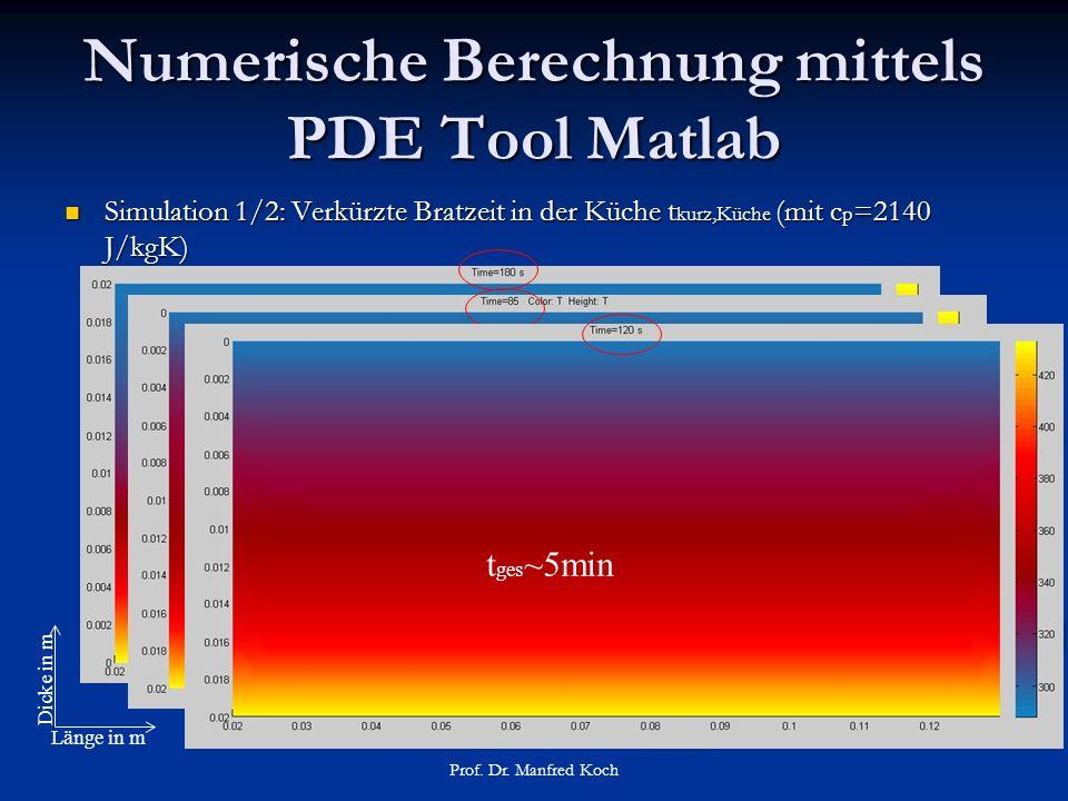 Numerische Berechnung mittels PDE Tool Matlab Simulation 1/2: Verkürzte Bratzeit in der Küche t kurz,Küche (mit c p =2140 J/kgK) Simulation 1/2: Verkürzte Bratzeit in der Küche t kurz,Küche (mit c p =2140 J/kgK) Prof.