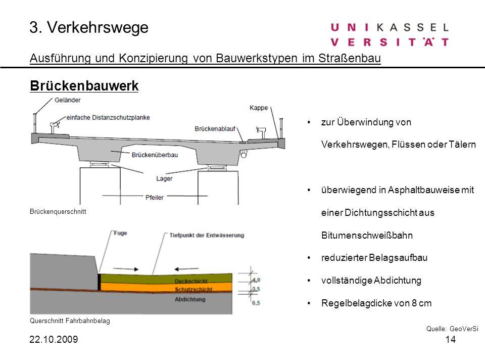 3. Verkehrswege Ausführung und Konzipierung von Bauwerkstypen im Straßenbau Brückenbauwerk Brückenquerschnitt Querschnitt Fahrbahnbelag zur Überwindun