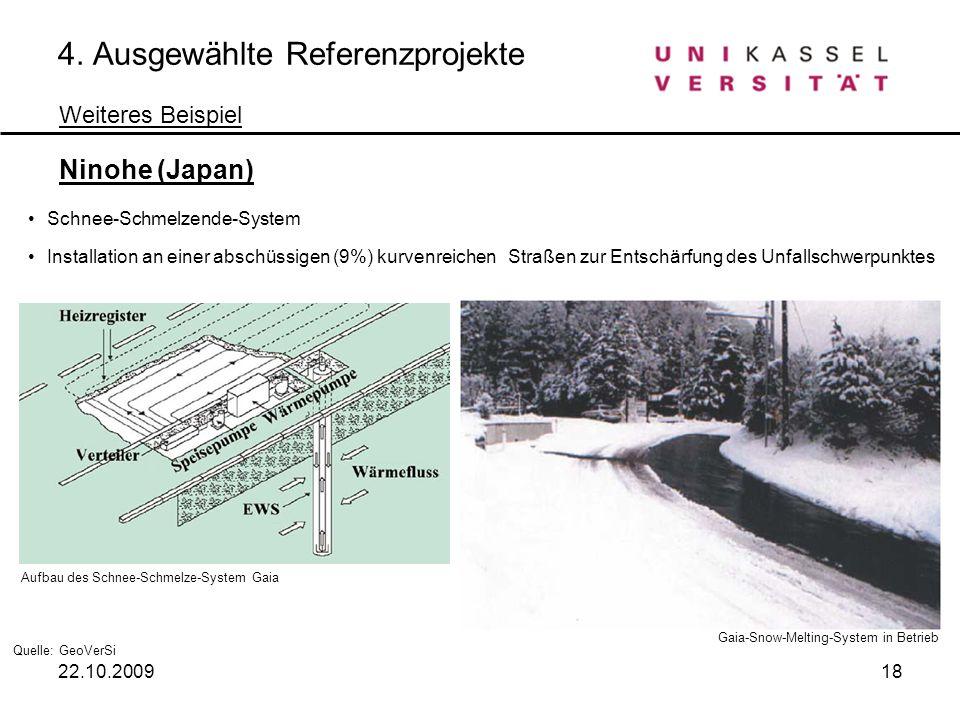 4. Ausgewählte Referenzprojekte Weiteres Beispiel Ninohe (Japan) Schnee-Schmelzende-System Installation an einer abschüssigen (9%) kurvenreichen Straß