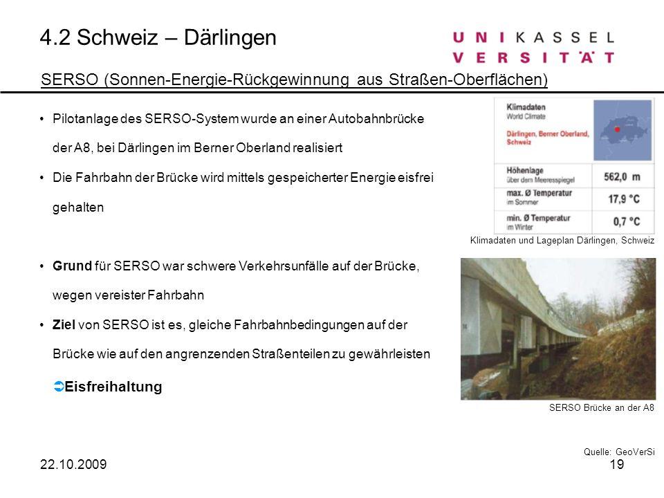 4.2 Schweiz – Därlingen SERSO (Sonnen-Energie-Rückgewinnung aus Straßen-Oberflächen) Pilotanlage des SERSO-System wurde an einer Autobahnbrücke der A8