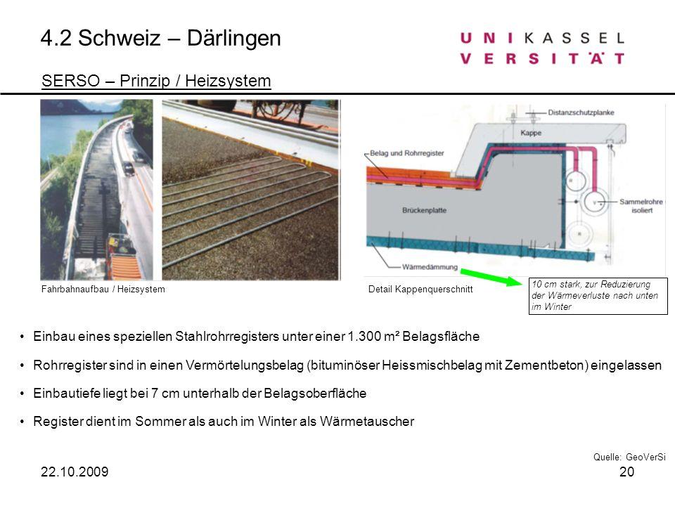4.2 Schweiz – Därlingen SERSO – Prinzip / Heizsystem Einbau eines speziellen Stahlrohrregisters unter einer 1.300 m² Belagsfläche Rohrregister sind in