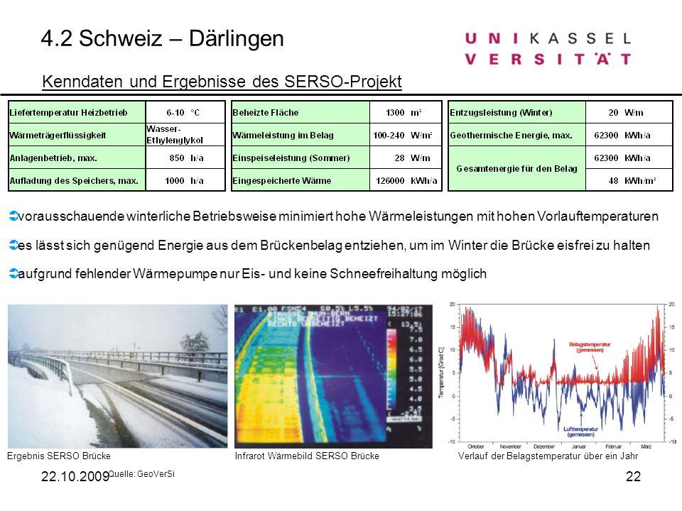 4.2 Schweiz – Därlingen Kenndaten und Ergebnisse des SERSO-Projekt Quelle: GeoVerSi Ergebnis SERSO BrückeInfrarot Wärmebild SERSO BrückeVerlauf der Be