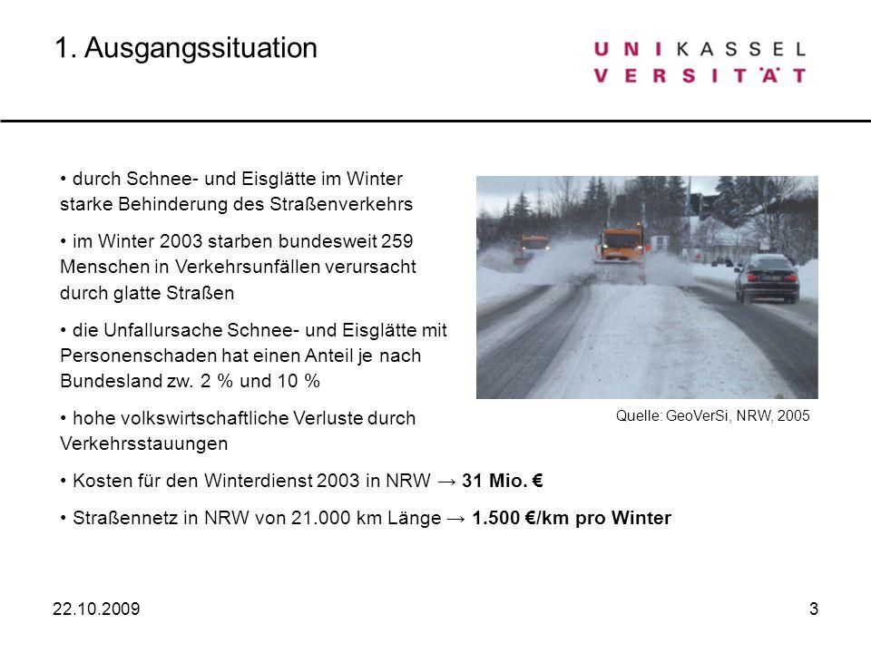 3 1. Ausgangssituation durch Schnee- und Eisglätte im Winter starke Behinderung des Straßenverkehrs im Winter 2003 starben bundesweit 259 Menschen in