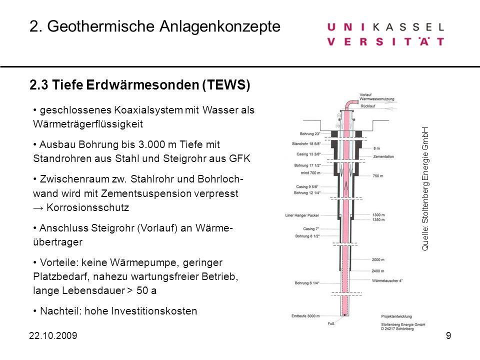 9 2.3 Tiefe Erdwärmesonden (TEWS) 2. Geothermische Anlagenkonzepte geschlossenes Koaxialsystem mit Wasser als Wärmeträgerflüssigkeit Ausbau Bohrung bi