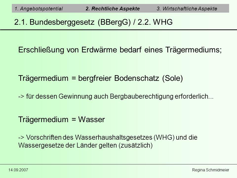 14.09.2007 Regina Schmidmeier 2.1. Bundesberggesetz (BBergG) / 2.2. WHG 1. Angebotspotential2. Rechtliche Aspekte3. Wirtschaftliche Aspekte Erschließu