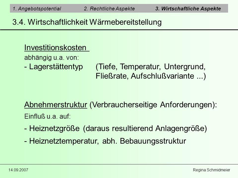 14.09.2007 Regina Schmidmeier 1. Angebotspotential2. Rechtliche Aspekte3. Wirtschaftliche Aspekte 3.4. Wirtschaftlichkeit Wärmebereitstellung Investit