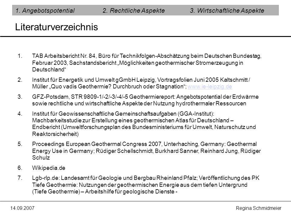 14.09.2007 Regina Schmidmeier Literaturverzeichnis 1. Angebotspotential2. Rechtliche Aspekte3. Wirtschaftliche Aspekte 1.TAB Arbeitsbericht Nr. 84, Bü