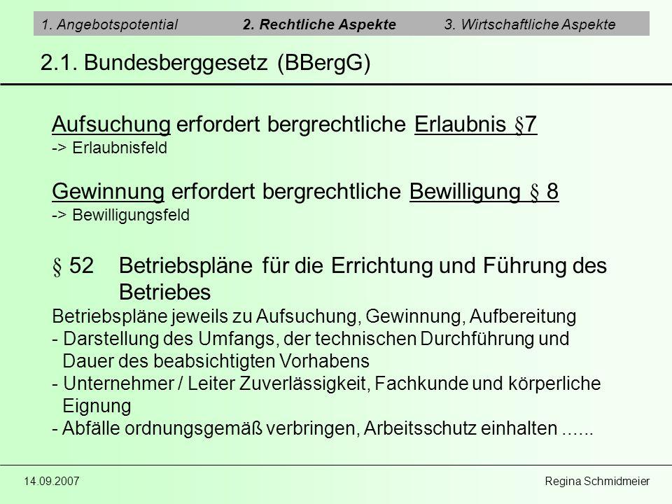14.09.2007 Regina Schmidmeier 2.1. Bundesberggesetz (BBergG) 1. Angebotspotential2. Rechtliche Aspekte3. Wirtschaftliche Aspekte Aufsuchung erfordert