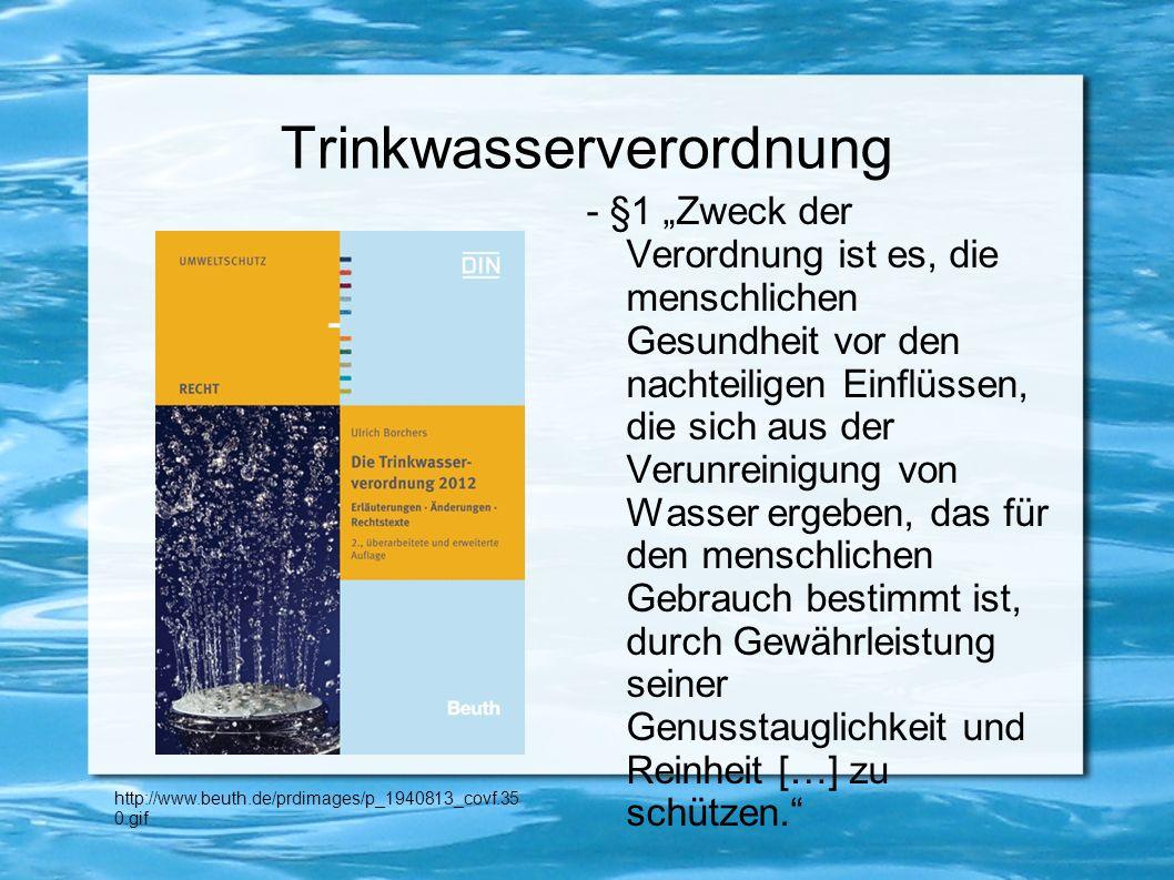 - Trinkwasser: das am besten kontrollierte Lebensmittel in Deutschland - gemäß Trinkwasserverordnung: 55 Parameter gemessen - 1.700 verschiedene gelöste Stoffe im Trinkwasser - Grenzwerte gibt es nur für einige Inhaltsstoffe unbefriedigend und viel zu hoch angesetzt - besonders gefährliche Schadstoffe: -Pestizide -Putzmittelrückstände - Schwermetalle -Medikamente
