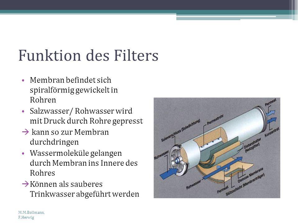 Funktion des Filters Membran befindet sich spiralförmig gewickelt in Rohren Salzwasser/ Rohwasser wird mit Druck durch Rohre gepresst kann so zur Memb