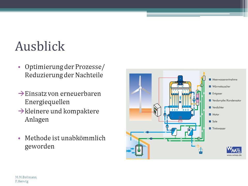 Ausblick Optimierung der Prozesse/ Reduzierung der Nachteile Einsatz von erneuerbaren Energiequellen kleinere und kompaktere Anlagen Methode ist unabk