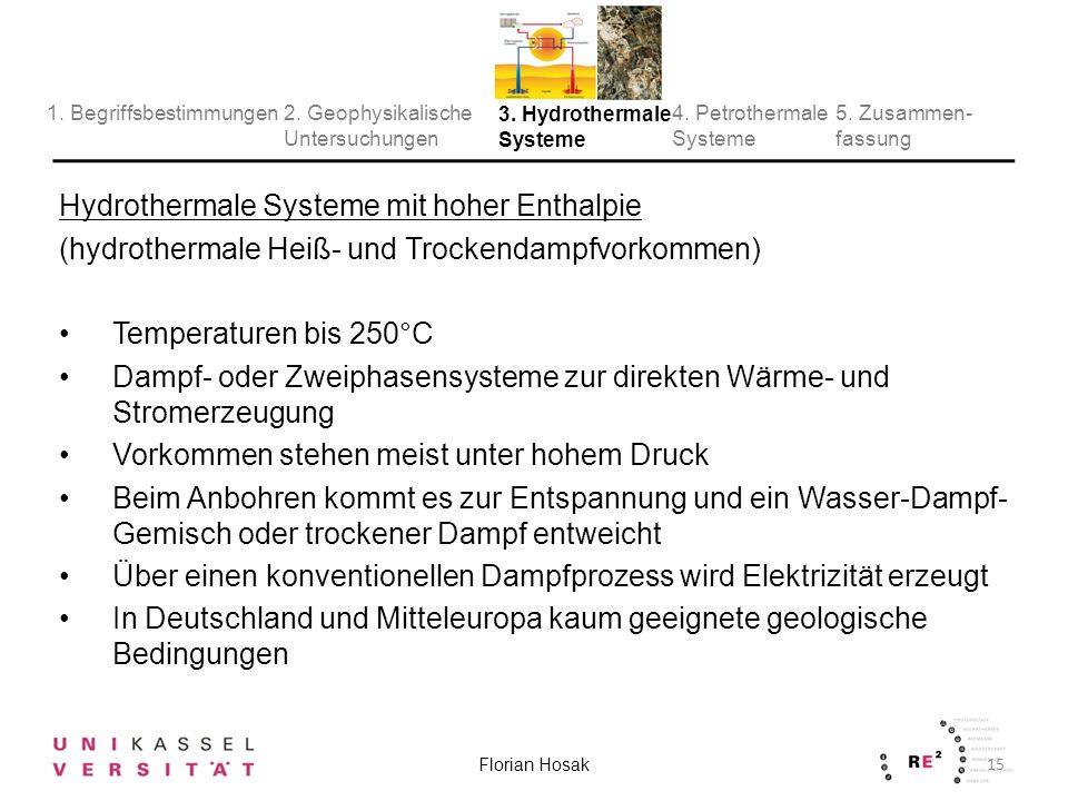 Hydrothermale Systeme mit hoher Enthalpie (hydrothermale Heiß- und Trockendampfvorkommen) Temperaturen bis 250°C Dampf- oder Zweiphasensysteme zur direkten Wärme- und Stromerzeugung Vorkommen stehen meist unter hohem Druck Beim Anbohren kommt es zur Entspannung und ein Wasser-Dampf- Gemisch oder trockener Dampf entweicht Über einen konventionellen Dampfprozess wird Elektrizität erzeugt In Deutschland und Mitteleuropa kaum geeignete geologische Bedingungen 15 Florian Hosak 2.