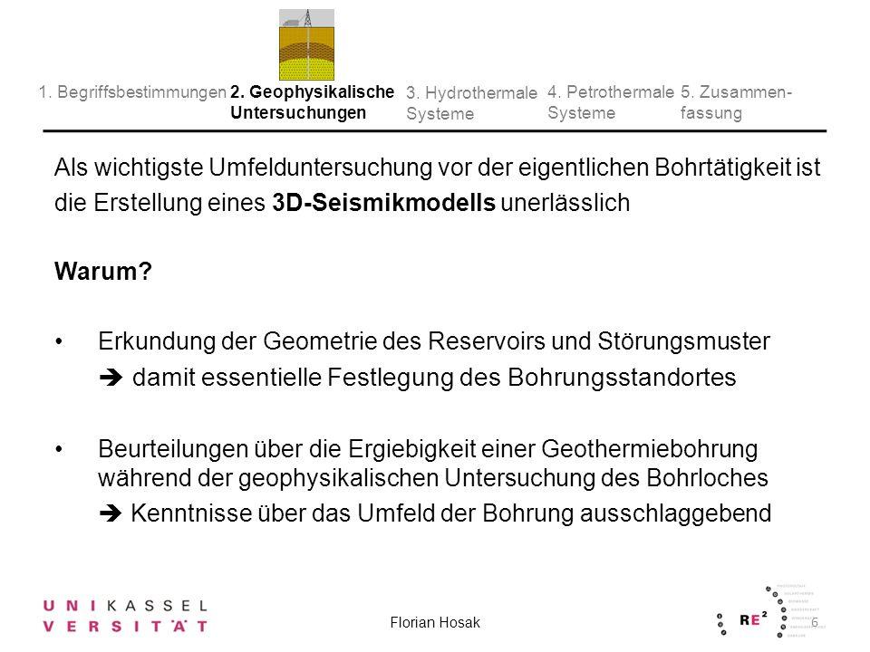3D Seismik-Modell: Dreidimensionales Abbild des Untergrundes Informationen über den Verlauf und die Mächtigkeit der wasserführenden Schichten in der Zieltiefe Gesteinsschichten und räumlicher Verlauf der Bruchzonen erkennbar 7 Florian Hosak 2.