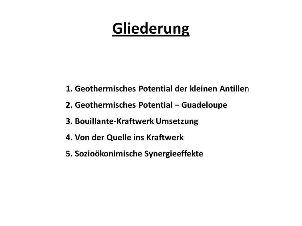Gliederung 1. Geothermisches Potential der kleinen Antillen 2. Geothermisches Potential – Guadeloupe 3. Bouillante-Kraftwerk Umsetzung 4. Von der Quel
