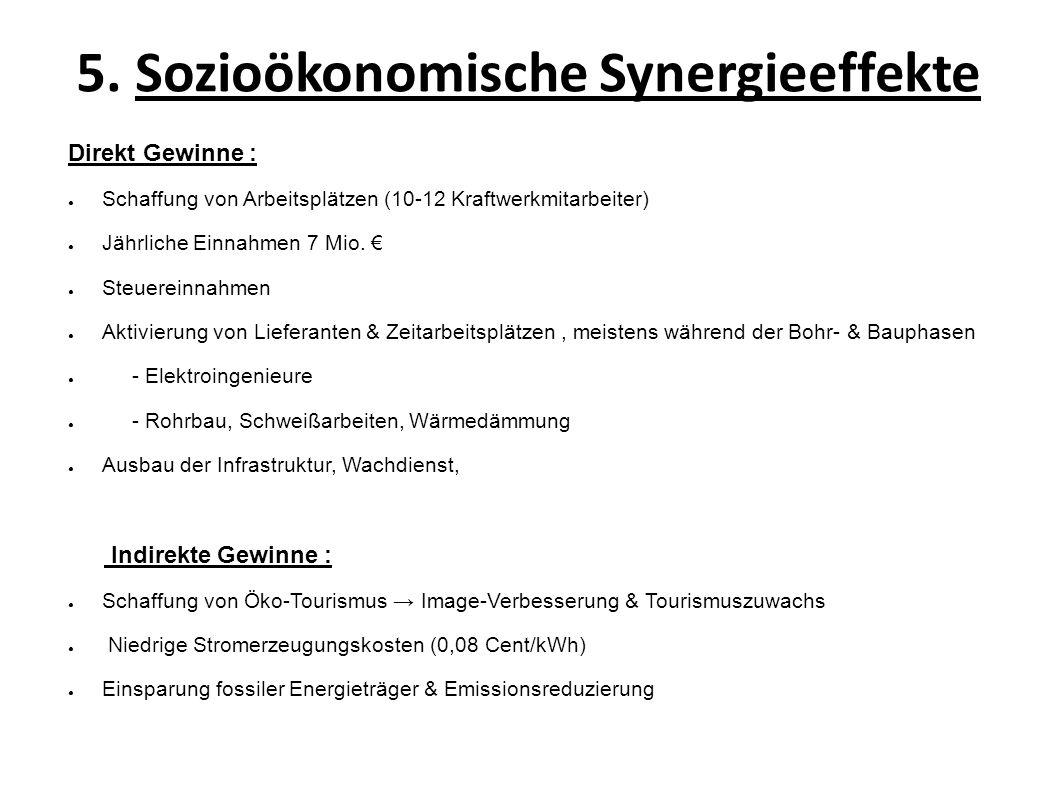 5. Sozioökonomische Synergieeffekte Direkt Gewinne : Schaffung von Arbeitsplätzen (10-12 Kraftwerkmitarbeiter) Jährliche Einnahmen 7 Mio. Steuereinnah