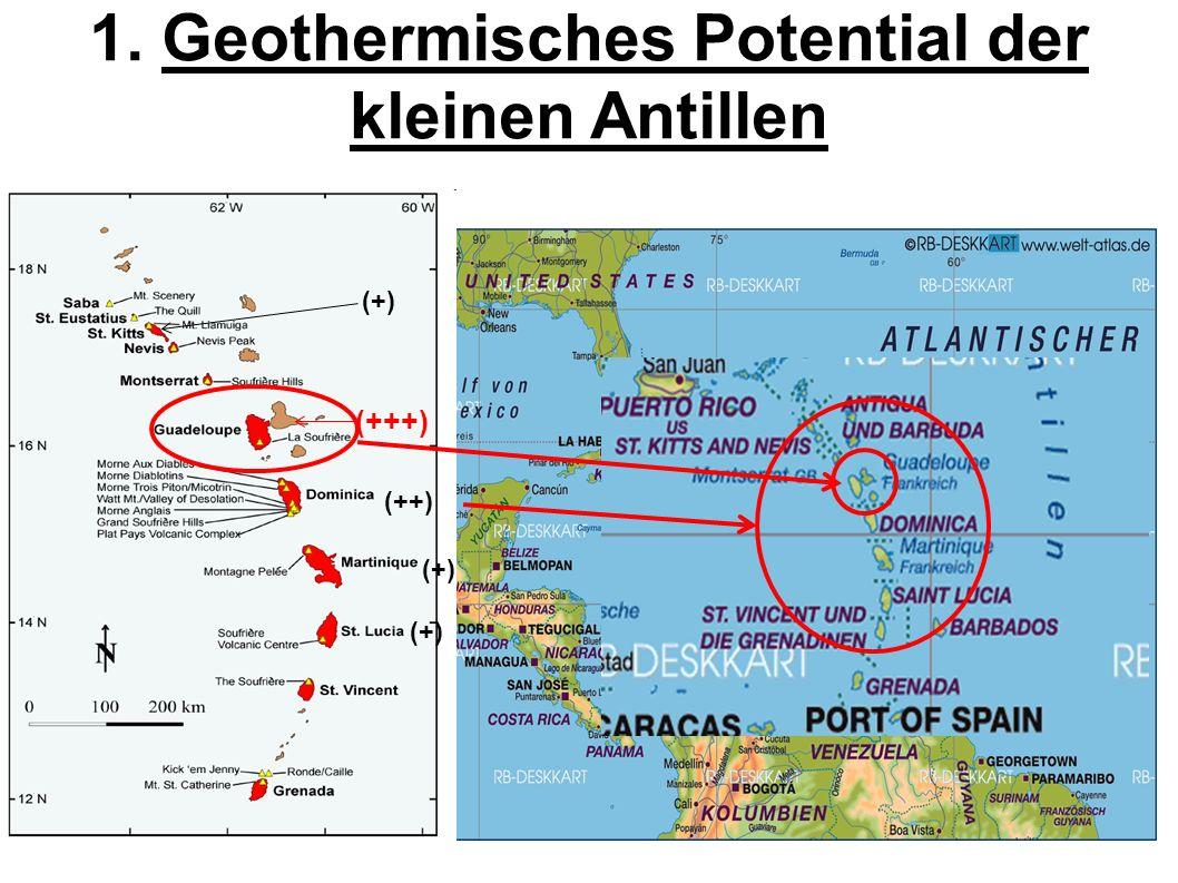1. Geothermisches Potential der kleinen Antillen (+) (+++) (++) (+)