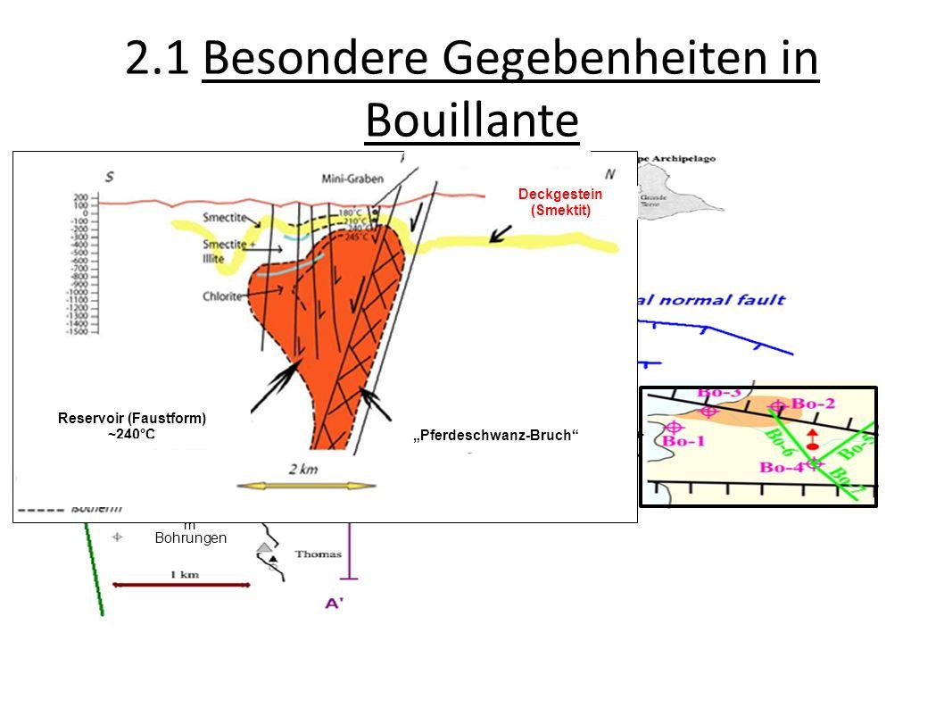 2.1 Besondere Gegebenheiten in Bouillante Thermalquellen Eruptionszentru m Bohrungen Hydrothermale Oberflächenthermi e Deckgestein (Smektit) Reservoir