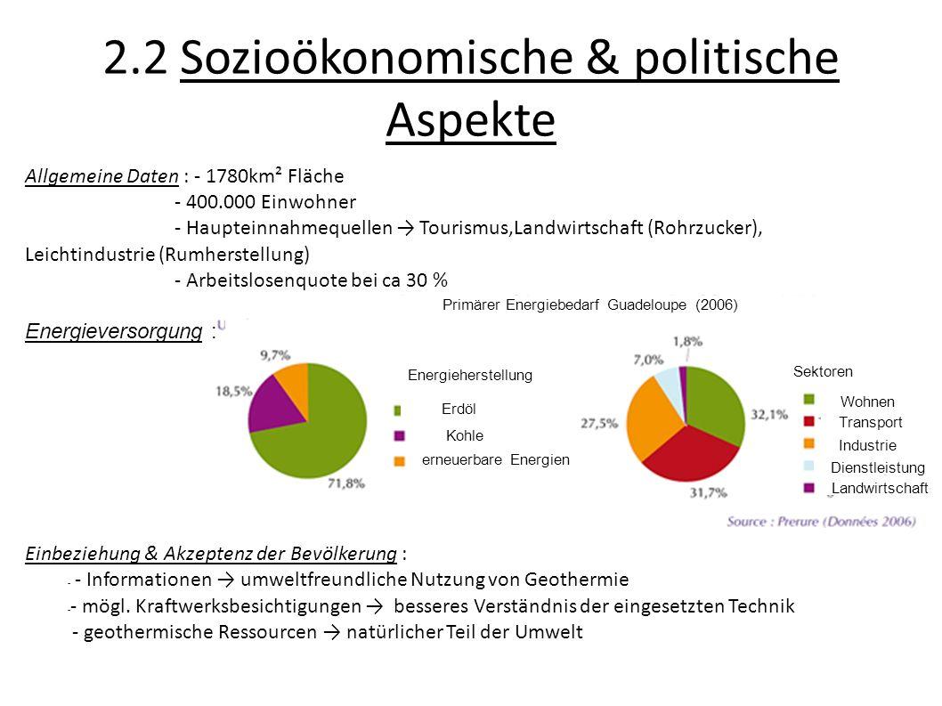 2.2 Sozioökonomische & politische Aspekte Allgemeine Daten : - 1780km² Fläche - 400.000 Einwohner - Haupteinnahmequellen Tourismus,Landwirtschaft (Roh