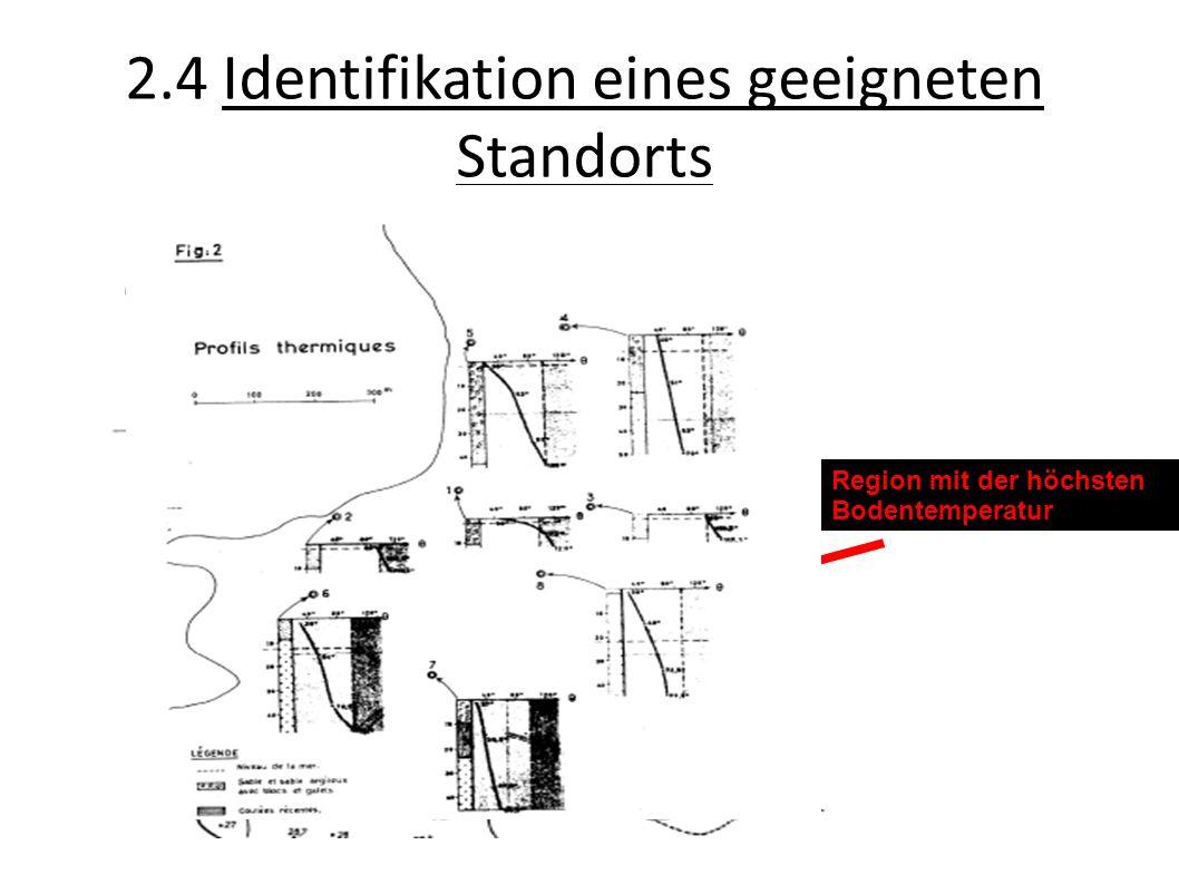 2.4 Identifikation eines geeigneten Standorts Region mit der höchsten Bodentemperatur