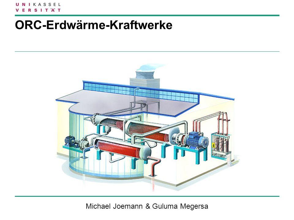 32 Fazit ORC-Prozess… …ist geeignete Technologie zur Erschließung von Niederenthalpie- Lagerstätten für die Stromerzeugung … ermöglicht die Nutzung von hydrothermalen- oder petrothermalen Verfahren … ist mit vergleichsweise hohen Wirkungsgraden realisierbar … hat ein sehr gutes Teillastverhalten … ermöglicht die Expansion in den überhitzten Bereich kein Tropfenschlag … hat niedrige Wartungs- und Instandhaltungskosten...