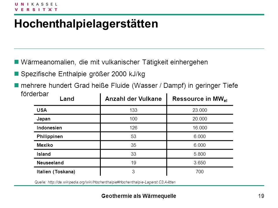 19 Hochenthalpielagerstätten Wärmeanomalien, die mit vulkanischer Tätigkeit einhergehen Spezifische Enthalpie größer 2000 kJ/kg mehrere hundert Grad h