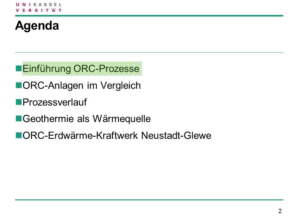 2 Agenda Einführung ORC-Prozesse ORC-Anlagen im Vergleich Prozessverlauf Geothermie als Wärmequelle ORC-Erdwärme-Kraftwerk Neustadt-Glewe